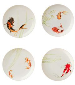 Koi In A Fountain Dessert Plates