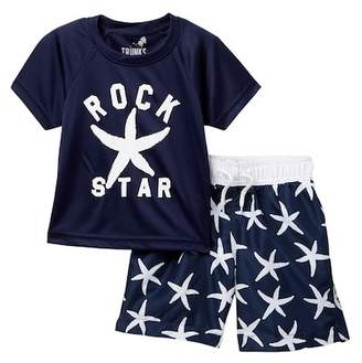 Trunks Surf and Swim CO. Rock Star Rash Guard & Swim Trunk Set (Toddler & Little Boys)