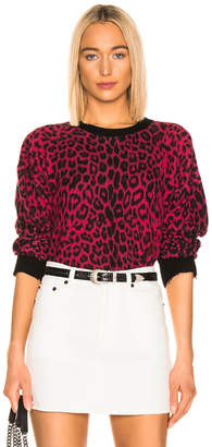 RtA Emma Sweater in Red Leopard Knit | FWRD