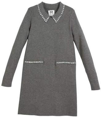 Milly Minis Rhinestone-Trim Long-Sleeve Dress, Size 8-14