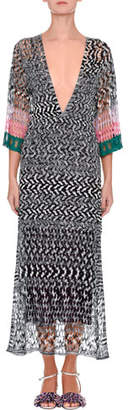 Missoni Reversible Plunging Long-Sleeve Space-Dye Ankle-Length Gown