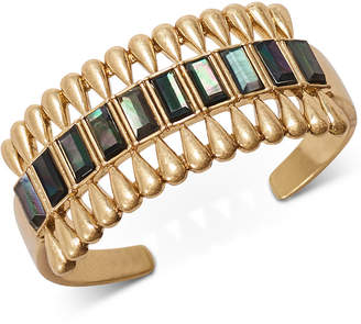 Lucky Brand Gold-Tone Black Mother-of-Pearl Stone Cuff Bracelet