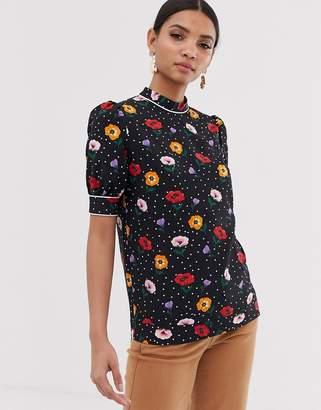 Fashion Union high neck blouse in poppy print