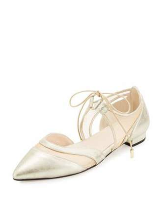 Andre Assous Maddie Pointed-Toe Lace-Up Ballerina Flat, Gold $225 thestylecure.com