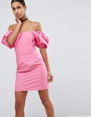Asos DESIGN Off Shoulder Puff Sleeve Mini Dress