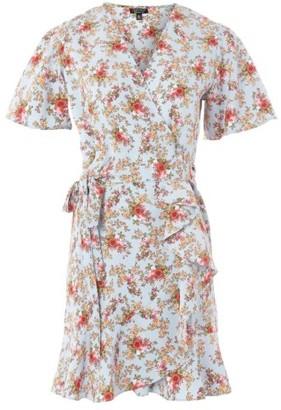 Topshop Women's Confetti Floral Wrap Tea Dress