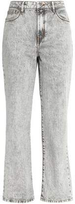 Maje Perla Faded High-Rise Straight-Leg Jeans