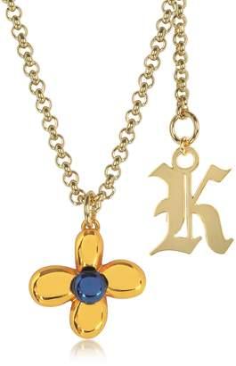 Christopher Kane Orange Flower Charm Necklace w/Gothic K Pendant