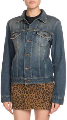 Saint Laurent Button-Front Long-Sleeve Denim Jacket w/ University Emblem Print on Back