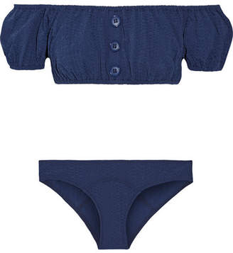 Leandra Off-the-shoulder Seersucker Bikini - Navy