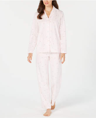 Charter Club Printed Fleece Notched Collar Pajama Set