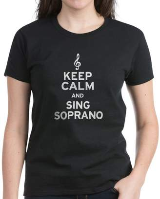 Soprano CafePress - Keep Calm Sing Women's Dark T-Shirt - Womens Cotton T-Shirt