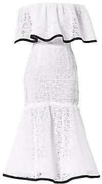 Carolina Herrera Women's Off-The-Shoulder Lace Ruffle Dress
