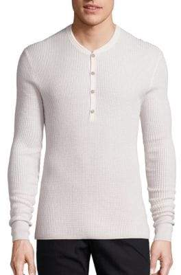 John Varvatos Silk and Cashmere Blend Henley Sweater
