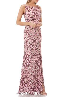 JS Collections Sleeveless Embroidered Gown