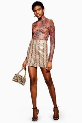 Topshop Womens Tall Snake Print Popper Pu Mini Skirt