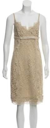 Dolce & Gabbana Sleeveless Lace Dress Tan Sleeveless Lace Dress