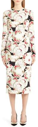 Dolce & Gabbana Plate Print Sheath Dress