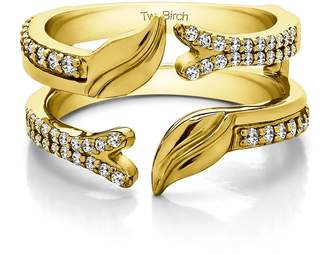 Charles & Colvard TwoBirch Open Ended Double Leaf Wedding Ring Guard with 0.33 carats of Forever Brilliant Moissanite by Charles Colvard in 10k Yellow gold
