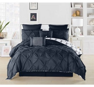 Generic Duck River Textiles Esy Reversible Pintuck Printed 8-Piece Oversize Overfilled Queen Comforter Set