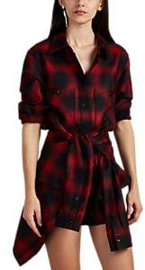 Alexander Wang Women's Plaid Wool Flannel Tie-Front Minidress - Red