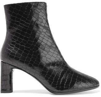 Clergerie - Elte Snake-effect Glossed-leather Ankle Boots - Black