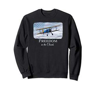 "Vintage Biplane ""Freedom in the Clouds"" aviation sweatshirt"