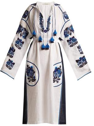 Vita Kin - Pressed Flower Embroidered Mid Weight Linen Dress - Womens - White Navy