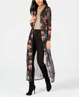 Project 28 Nyc Printed Sheer Open-Front Duster Cardigan