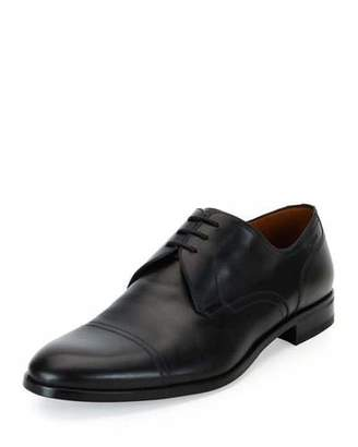 Bally Bruxelles Leather Cap-Toe Dress Shoe, Black