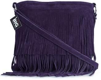 Big Handbag Shop Womens Suede Leather Tassle Fringe Shoulder Bag (Burnt Orange)