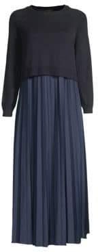 Max Mara Pleated Chiffon & Knit Midi Sweater Dress