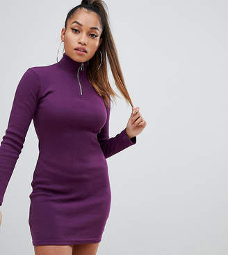Missguided Petite long sleeve bodycon dress with zip front in purple