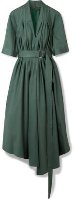 ADAM by Adam Lippes Asymmetric Pleated Cotton-poplin Midi Dress - Emerald