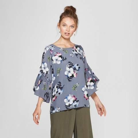 Notations Women's Angel Sleeve Wrap Top - Notations - Gray