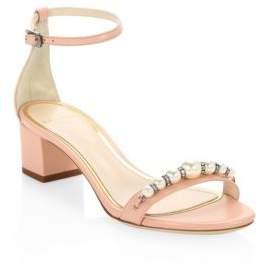 Lanvin Embellished Leather Ankle-Strap Sandals