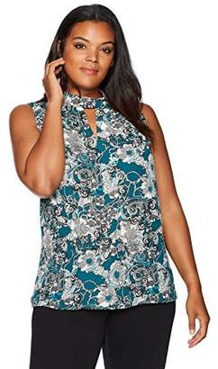 Nine West Women's Plus Size Crepe Keyhole Blouse with Intricate Design