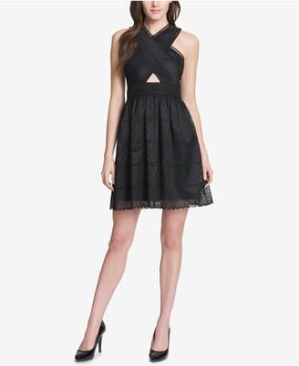 GUESS Cutout Lace Halter Dress