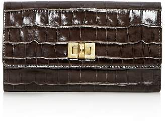 Max Mara Small Croc Embossed Leather Continental Wallet