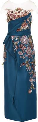 Marchesa Floral-Embroidered Silk-Gazar Midi Dress