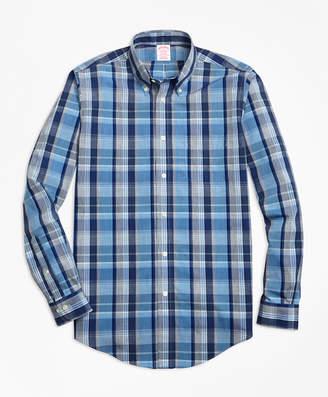 Brooks Brothers Non-Iron Madison Fit Heathered Madras Sport Shirt