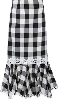 Marissa Webb Lou Fluted Gingham Cotton-Blend Twill Midi Skirt