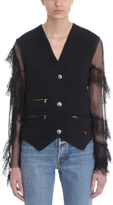 Blend of America Giacobino Black Linen And Cotton Lace Sleeve Jacket