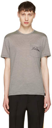 Alexander McQueen Black and Off-White Striped Pocket T-Shirt