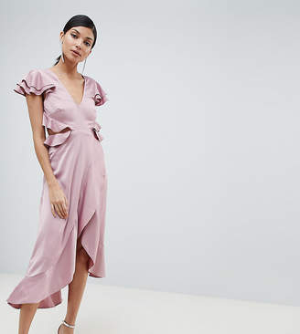Asos (エイソス) - ASOS Tall ASOS DESIGN Tall Ruffle Midi Dress In Rippled Satin With Cut Out Back