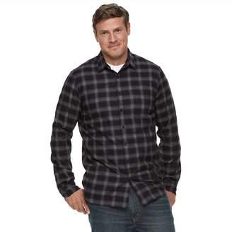 Apt. 9 Big & Tall Modern-Fit Plaid Brushed Flannel Button-Down Shirt