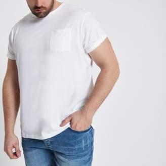 River Island Big and Tall white crew pocket T-shirt