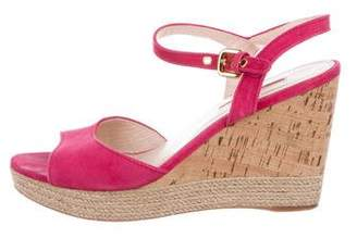Prada Sport Suede Wedge Sandals