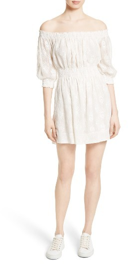 Women's Rebecca Taylor Off The Shoulder Embroidered Dress