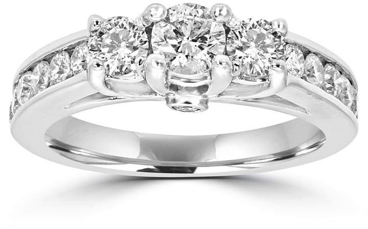 MODERN BRIDE Love Lives Forever Womens 1 1/2 CT. T.W. Round White Diamond 14K Gold 3-Stone Ring